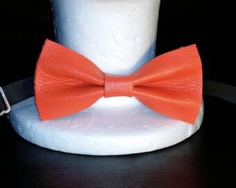 Orange leather bow tie