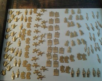 lot of 130 assorted garden gold tone charms