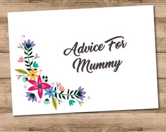 10 x Printed Floral Advice For Mummy Baby Shower Game Cards