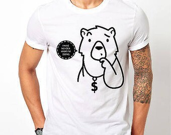 """Mens Hipster Style Bear """"I Have No Idea What I'm Doing"""" - White T-shirt"""