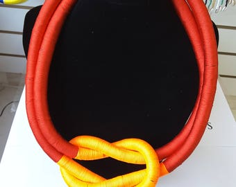 African statement handmade knot-twist necklace