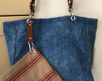 Distressed denim cool look shopper. Super french fabric purse. A great combo?!