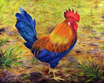 Rooster on Grass Original Painting Oil Color High Quality Giclée Print, home decor office nursery animal art Handmade gift PRINT decoration