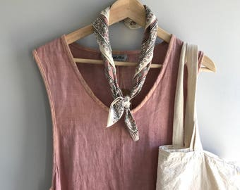 vintage 100% Linen dress custom hand-dyed color (Dusty Peach) eco-friendly & sustainable
