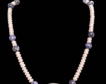 Freshwater Pearl and Lapis lazuli  Necklace with Matching Bracelet