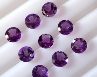 7 mm Natural round amethyst faceted AAA quality-high quality gemstones