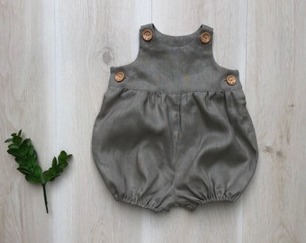 Classic Romper, Baby romper, Baby overalls, vintage romper, Baby jumpsuit, Natural linen romper, baby girl, Baby boy clothes, toddler romper