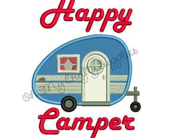 Happy Camper Applique Embroidery Design