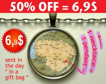 Lithuania map necklace, Lithuania map pendant, Lithuania necklace, Lithuania pendant, map jewelry Lithuania key chain key ring key fob N150