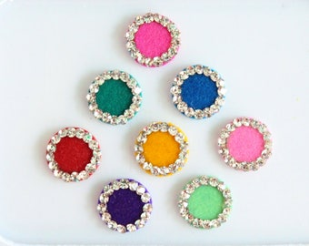 8 Colorful Fancy Bindis ,Round Bindis,Velvet Colorful Bindis,Wedding Round Face Jewels Bindis,Bollywood Bindis,Self Adhesive Stickers Pack