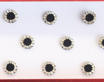 Black Face Stickers ,Round Bindis,Velvet Black Bindis,Wedding Round Black Face Jewels Bindis,Bollywood Bindis,Self Adhesive Stickers Pack