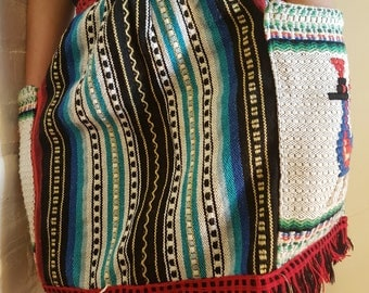 Vintage apron, Mexican embroidered clothing, apron skirt with pockets, half apron, Mexican clothing