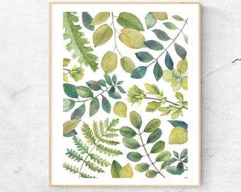 Leaf Print, Watercolor Leaves Illustration, Digital Download, Printable Art, Instant Download