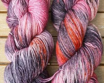 Hand-dyed sock yarn glitter rust