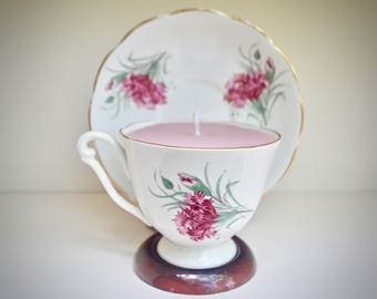 Pink Floral Teacup Soy Candle - Queen Anne Fine China - Two Scents In One: Cucumber Mint + Mixed Berry - Made in England