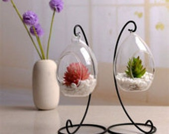 hanging glass terranium and stand (Empty contents not included)