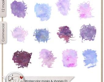 Watercolor Masks and Shapes 01, Transparent PNG , PNG Elements, Digital Scrapbook | Clipart | Printable Designers Resources