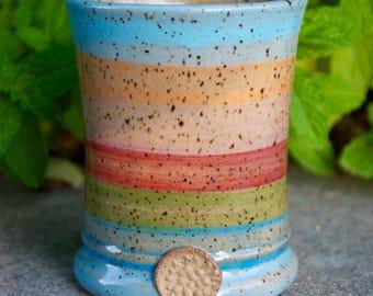 Summer Stripes #39 Handmade Ceramic Tumbler/Mug