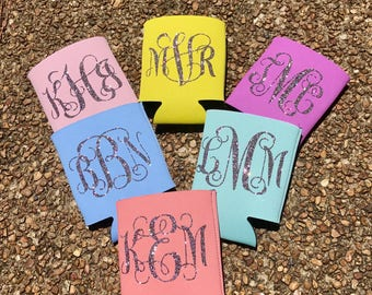 Monogrammed glitter vinyl can coolers/huggies, drink holder, beverage holder, bachelorette, wedding, birthday, handmade