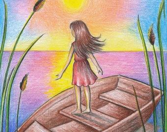 Little girl in a boat sunset nursery drawing