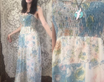 70s Watercolor Floral Ruched Floaty Maxi Dress Gunne Sax Style Size Small / Medium