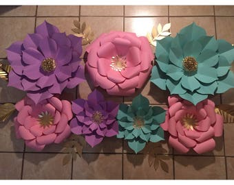 7pc Pink, Purple and Mint Giant Paper Flower Backdrop