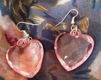Transparent Pink Lolita Heart Earrings