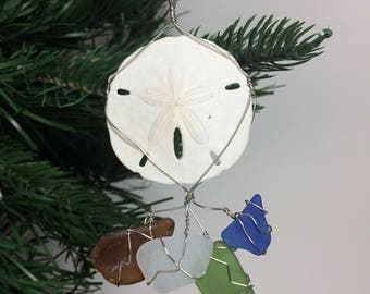 Real Sand Dollar and Seaglass Wire Wrapped Christmas Ornament #2001
