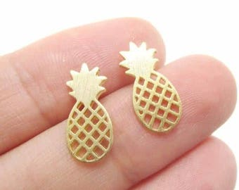 24/7 Jewelry Collection Pineapple earrings-Earrings-brushed-Silver-Gold-rose gold