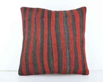 Turkish Kilim Pillow, 18''x18'' Vintage Kilim Pillow, Kilim Pillow Case, Decorative Kilim Pillow, Handmade Kilim Pillow