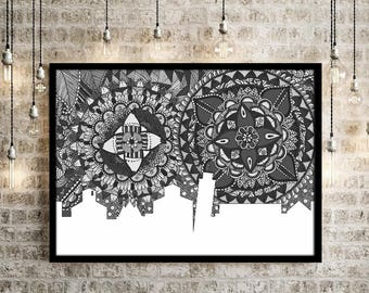 Pisa, Italy, Poster, Skyline, Art, Home Decore, Digital Illustration, Print, Doodle, Zentangle, Black and White, Wall Art, Gift, Collection