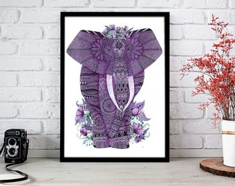 Elephant, Watercolor, Poster of Elephant, Zentangle, Doodle, Digital Art, Purple, Print, Digital Illustration, Animal, Nature, Art, Drawing