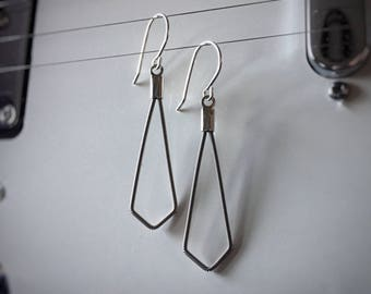 Small Spade Shaped Guitar String Earrings