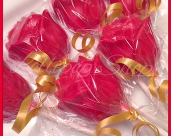 12 Rose Lollipops, Beauty and the Beast inspired Lollipops (Birthday, Disney, Belle, Princess, Party)