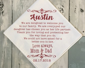 Groom Wedding Present From Mom And Dad Personalized Handkerchief Parent Gift To