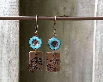 Antique Copper Earrings Dangle Earrings Bohemian Earrings Turquoise Earrings Blue Earrings Earthy Earrings Boho Jewelry Flower Earrings
