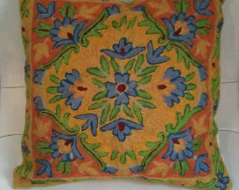 Wool embroidered cushion cover from Kashmir, India