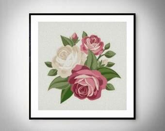 Rose cross stitch pattern, flowers cross stitch, pdf instant download, modern cross stitch. #010