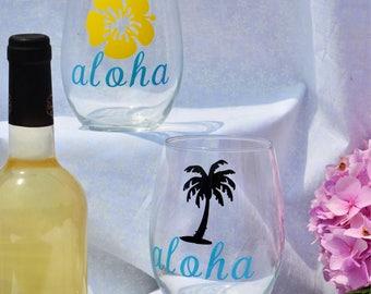 Aloha Set of 2 Wine Glass, funny Wine Glass,Personalized gifts