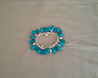 Silver and Blue Bangle