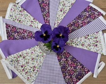 Vintage Look Purple Lilac and White Floral Bunting Wedding Decor Party Bunting Birthday Bunting Flower Bunting Fabric Bunting Shabby Chic