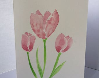 Hand Painted Tulip Greeting Card