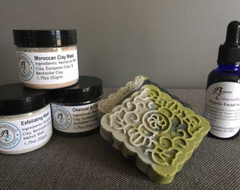 Premium Facial Skin Care Set: 2-Daily Detox Facial Soaps, 1-Organic Facial Serum, and Choice of Clay Facial Mask Powders- FREE Shipping