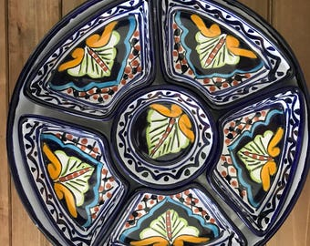 Bohemian Puebla Divided Serving Platter | Appetizer Dish | Hand Painted | Mexican Art