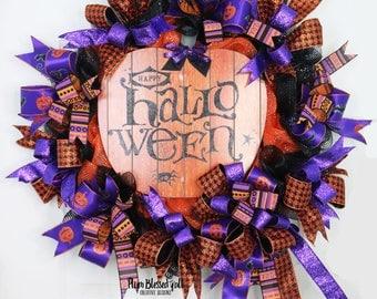 Happy Halloween Wreath, Halloween Wreath for Front Door, Deco Mesh Halloween Wreath, Deco Mesh Pumpkin Wreath, Halloween Decor, Fall Wreaths