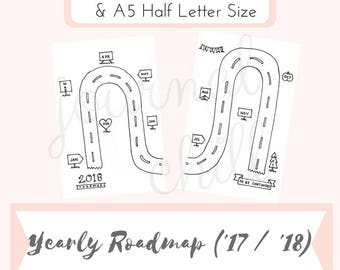 2017 & 2018 Yearly Roadmap: Bullet Journal Printable