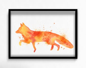 Watercolor fox canvas art print poster
