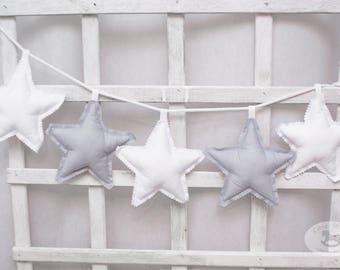 Star garland white & gray, Baby nursery banner, fabric garland stars banner