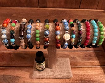 Chakra Aromatherapy Bracelets Beads Healing Essential Oil Relaxation Lava Beads Diffuser Gemstones