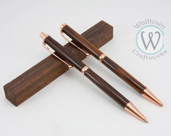 Copper Slimline pen and pencil set with Cocobolo wood